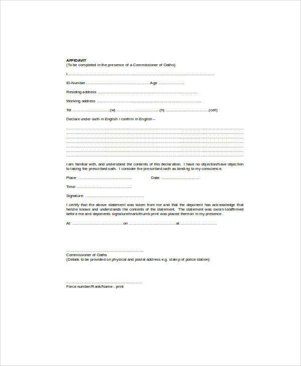 sample affidavit statement form