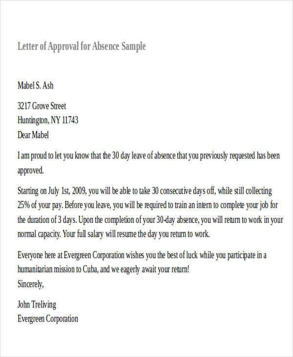30 formal request letters sample templates sample approval letter for absence thecheapjerseys Images