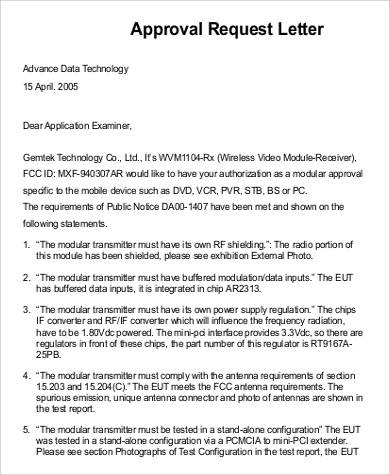 Sample Approval Request Letter