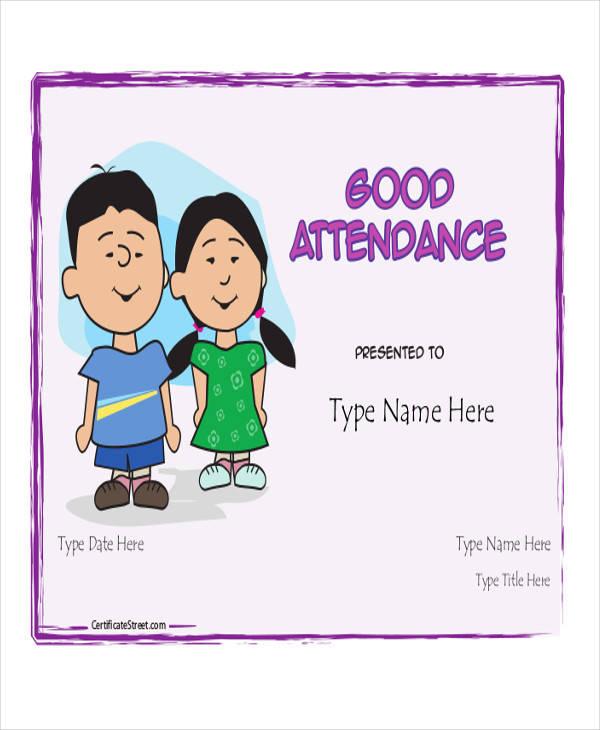sample attendance award certificate