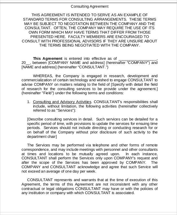40 consulting agreement samples sample templates for Consulting contracts templates