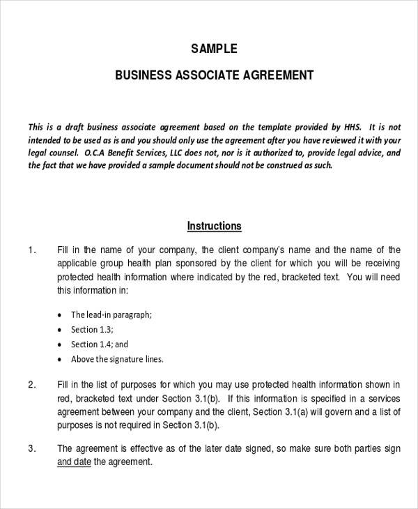 sample business associate agreement form