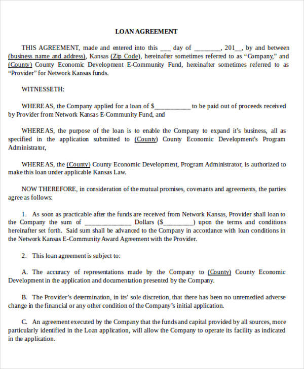 Business Agreement Form – Business Loan Agreement