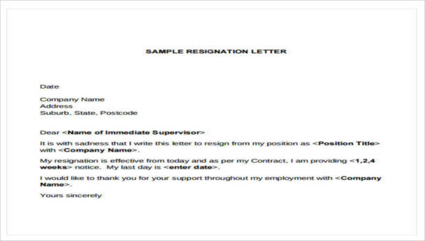 resignation letter format for company 7 company resignation letters samples examples 11437
