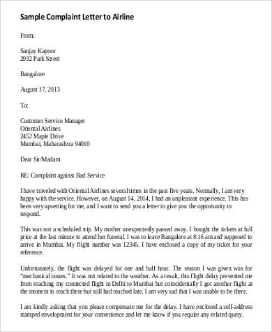 21 complaint letters in pdf sample templates sample complaint to airline spiritdancerdesigns