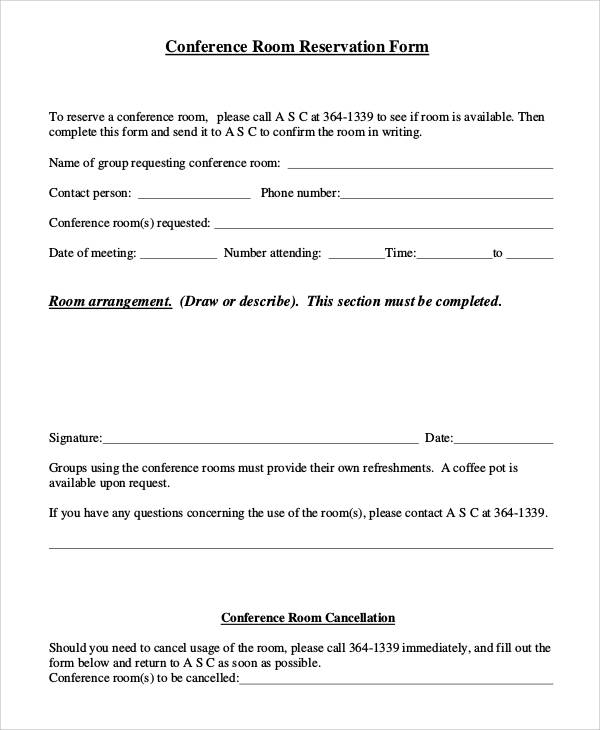 Conference Room Reservation Request Form