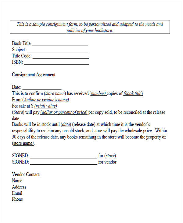 Free Consignment Stock Agreement Template