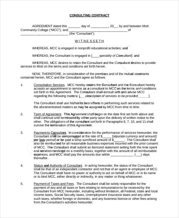sample consulting contractor agreement