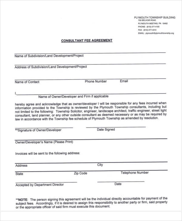 sample consulting fee agreement form