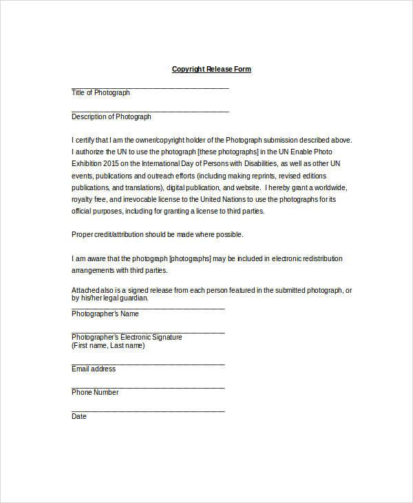 sample copyright release form