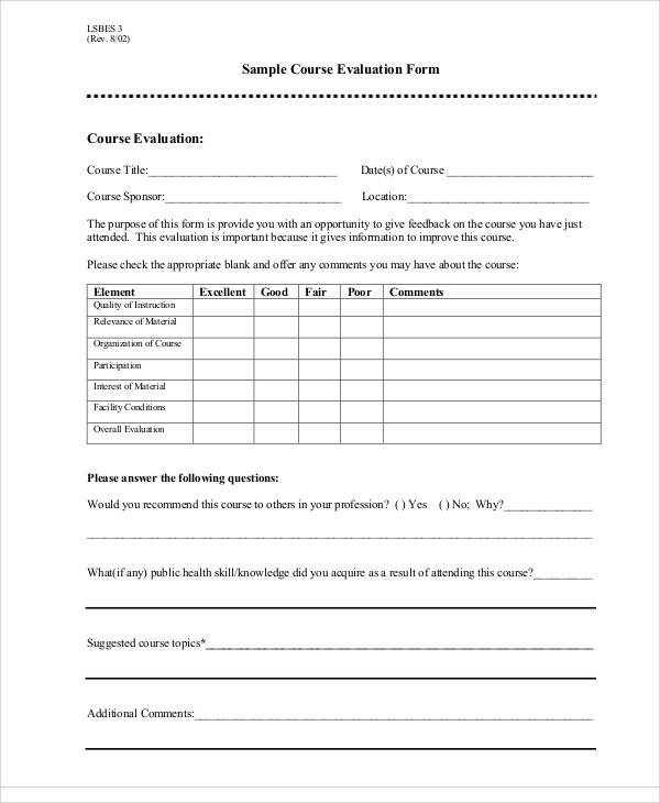 sample course evaluation form