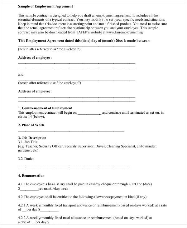 sample employee agreement