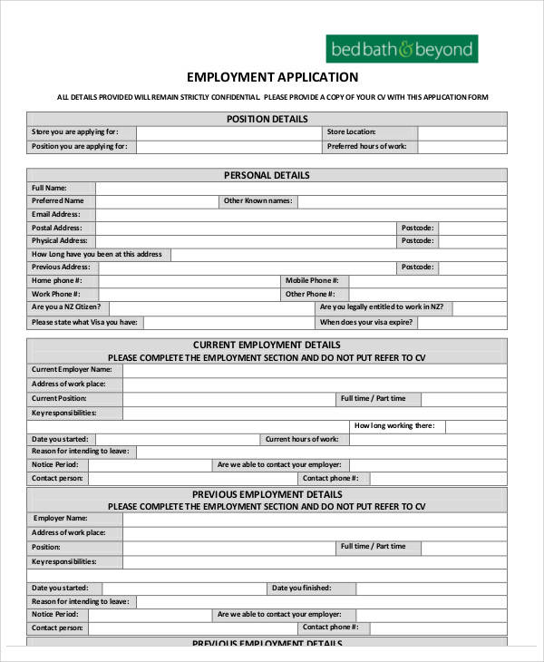 Application Form Formats – Sample Employee Application