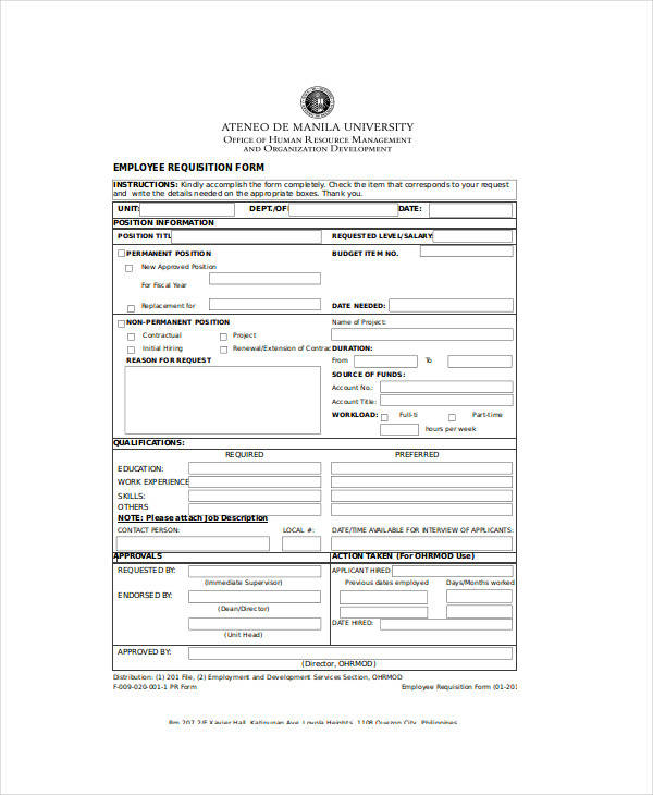 Superb Sample Employee Requisition