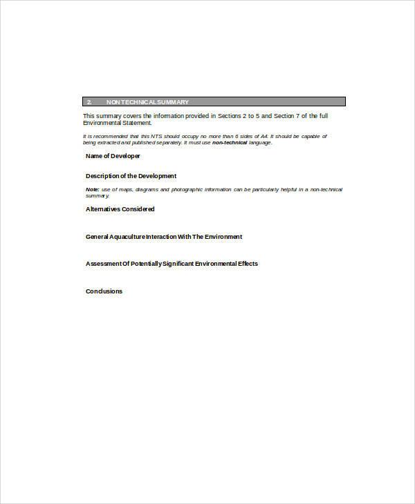 sample environmental statement form