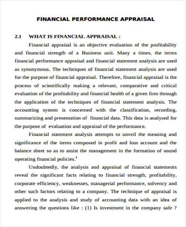 sample financial appraisal format