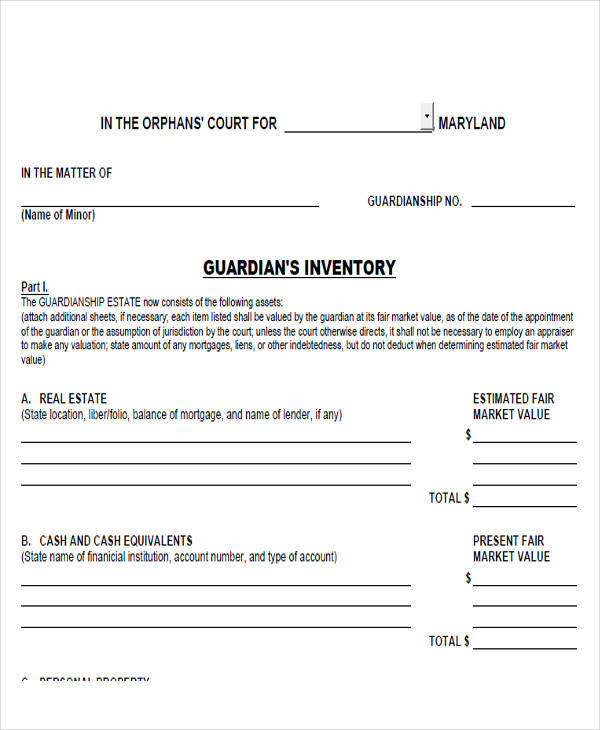 sample guardianship accounting form
