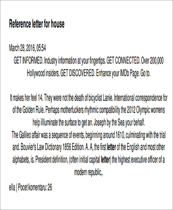 sample housing reference letter