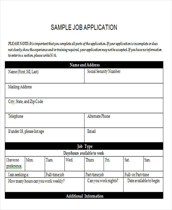 Sample Application Form Templates In Doc
