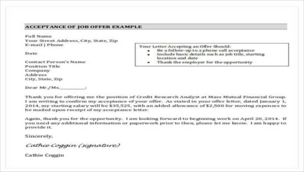 27 sample job letters sample templates