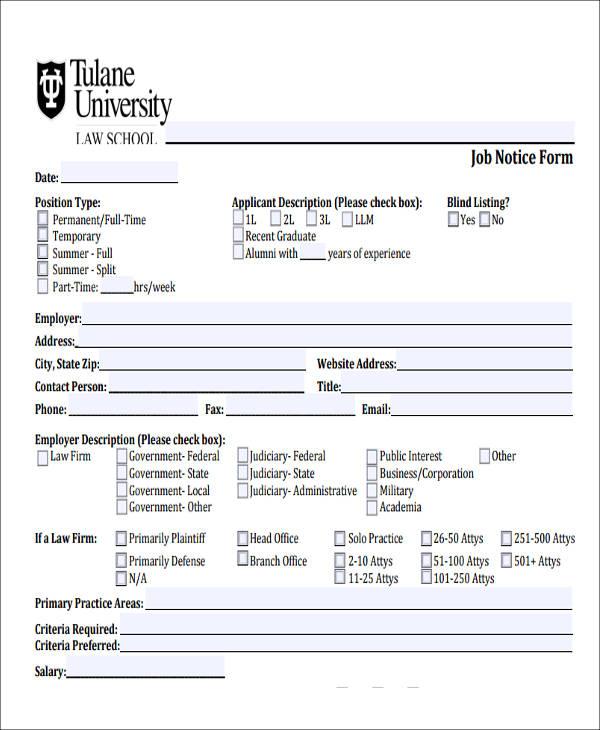 sample job notice form