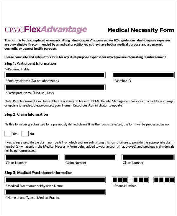 50 sample medical forms sample templates sample medical necessity form spiritdancerdesigns Choice Image