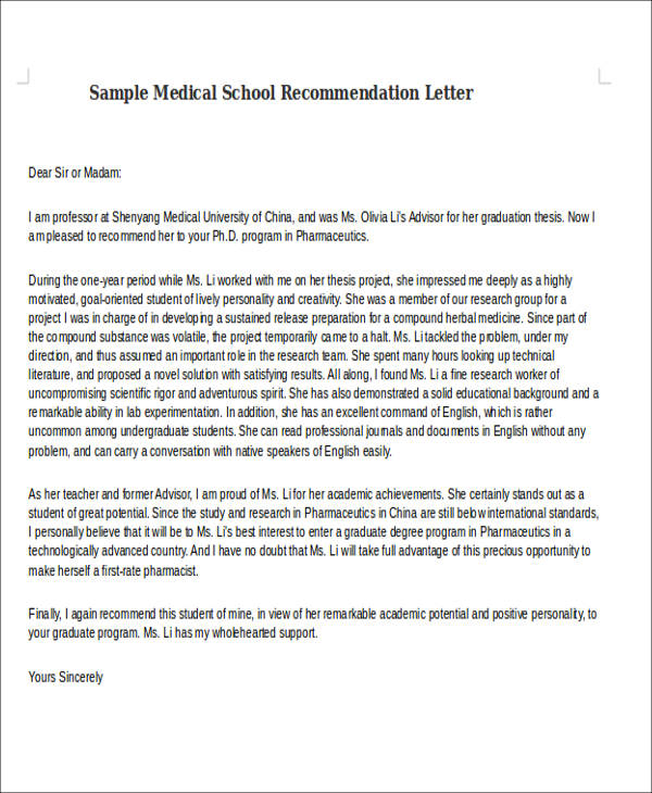 sample letter of medical school recommendation