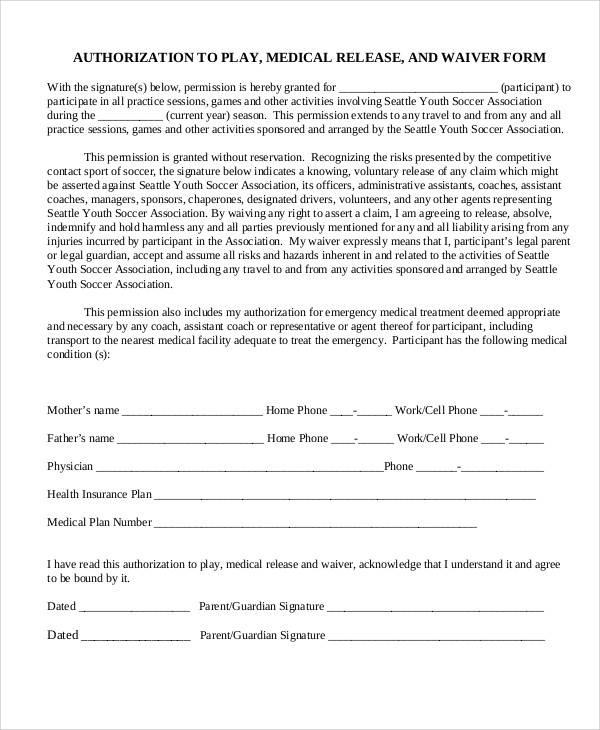Sample Medical Waiver Form Insurance Liability Waiver Form Template