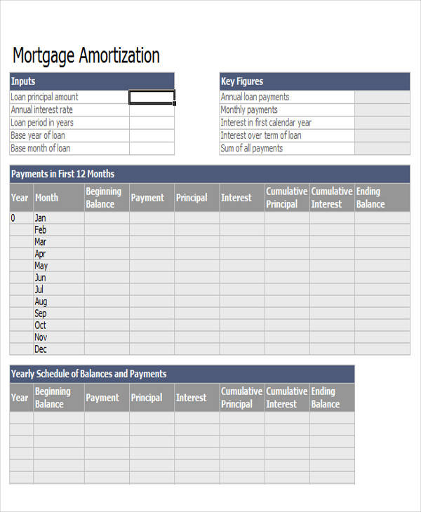 Mortgage Amortization Spreadsheet Sample   Examples In Word Pdf