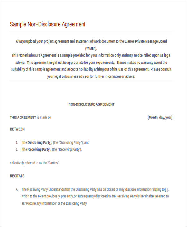 7 Sample Non Disclosure Agreements