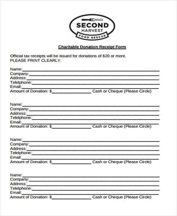 7+ Tax Receipts for Donation - Examples in Word, PDF
