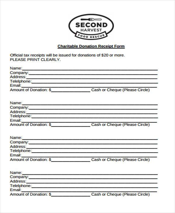 tax donation receipt