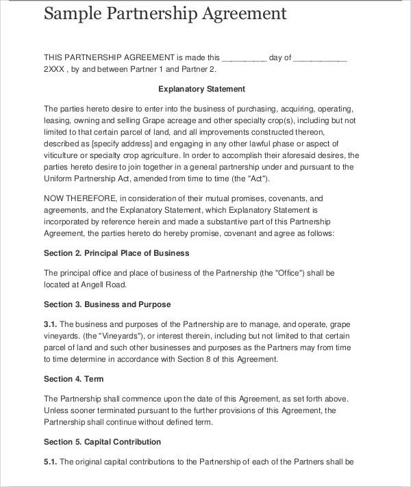 Business Agreement Sample – Sample Business Agreement