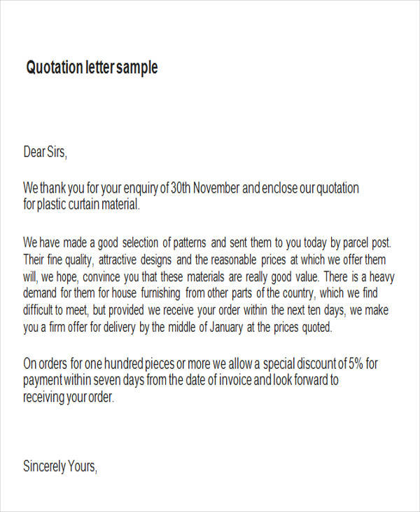 Sample Price Quotation Letter