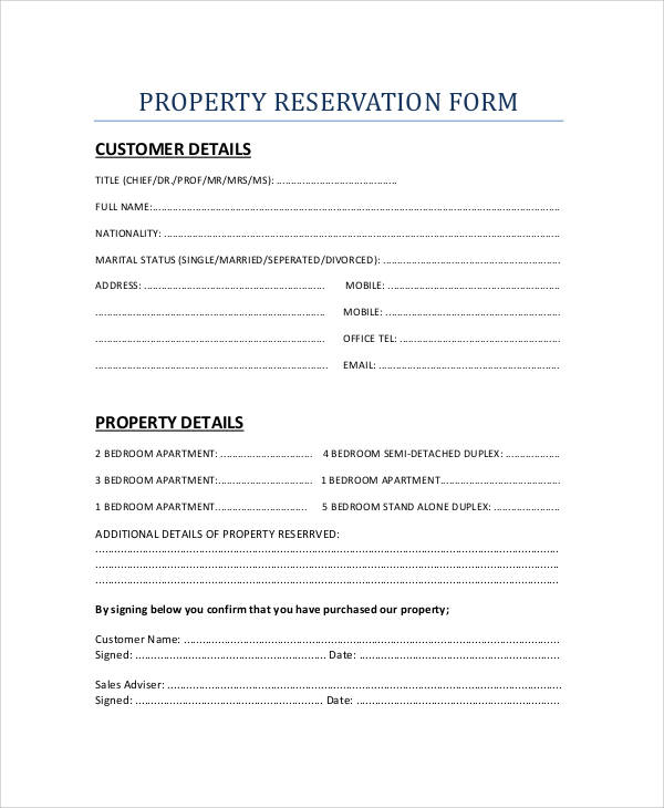 30+ Reservation Forms In Pdf