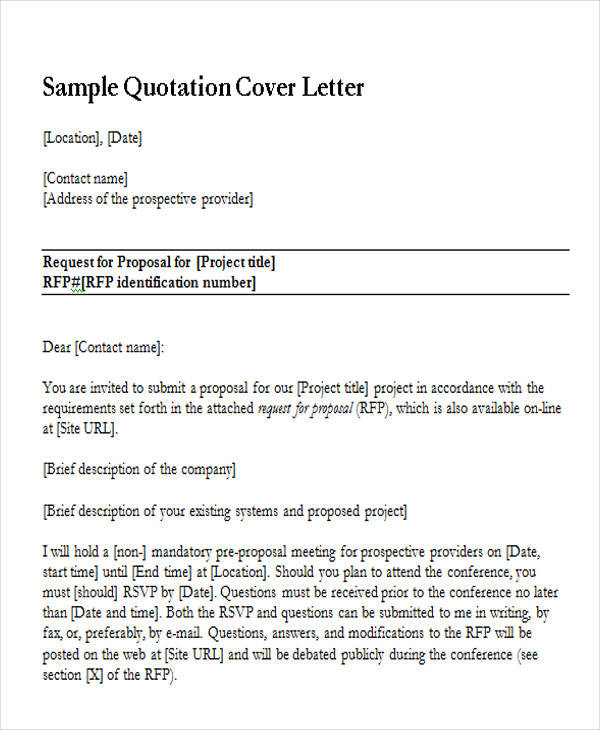 27 sample quotation letters sample quotation cover letter spiritdancerdesigns Gallery