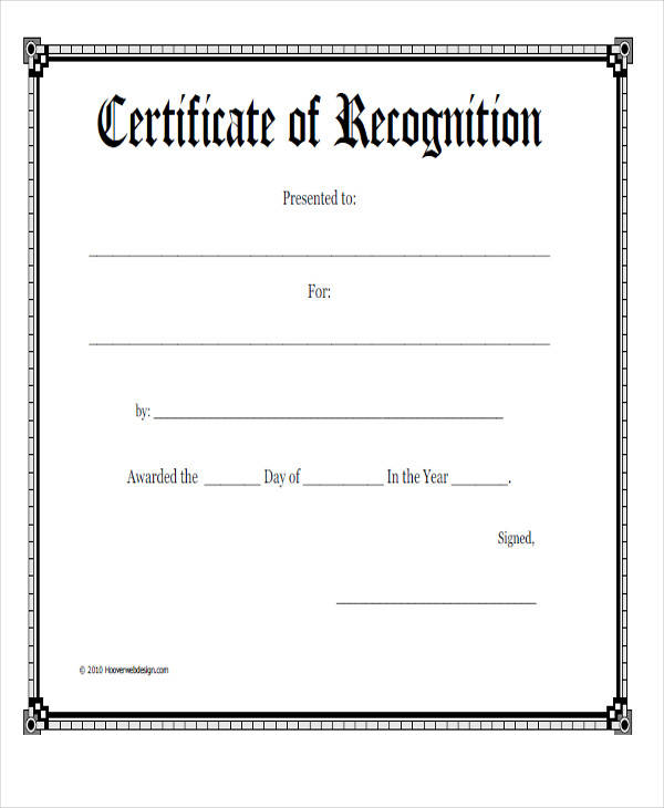 sample recognition award certificate