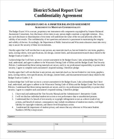 sample report confidentiality agreement