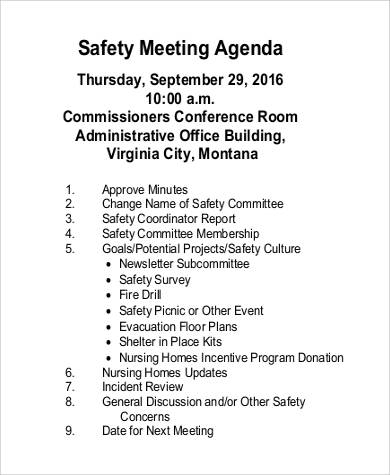 32 agenda samples in pdf sample templates for Health and safety committee meeting agenda template