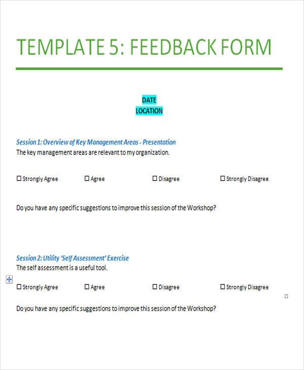 sample service feedback form example