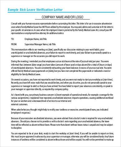 sample sick leave verification letter