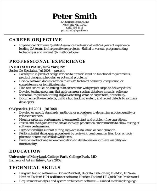 Software Quality Assurance Resume