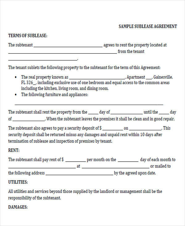 44 printable agreement forms sample templates for Vehicle sublease agreement template