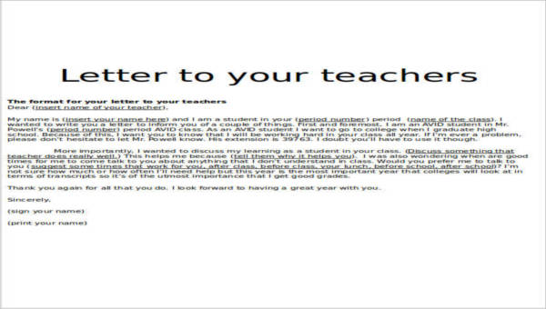 thank you letter to teacher 7 sample thank you letters sample templates 25126 | Sample Teacher Thank You Letter