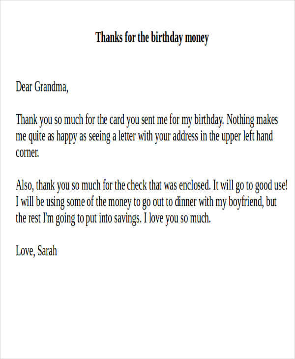 Thank You Letter For Birthday Gift Image Collections Letter Format