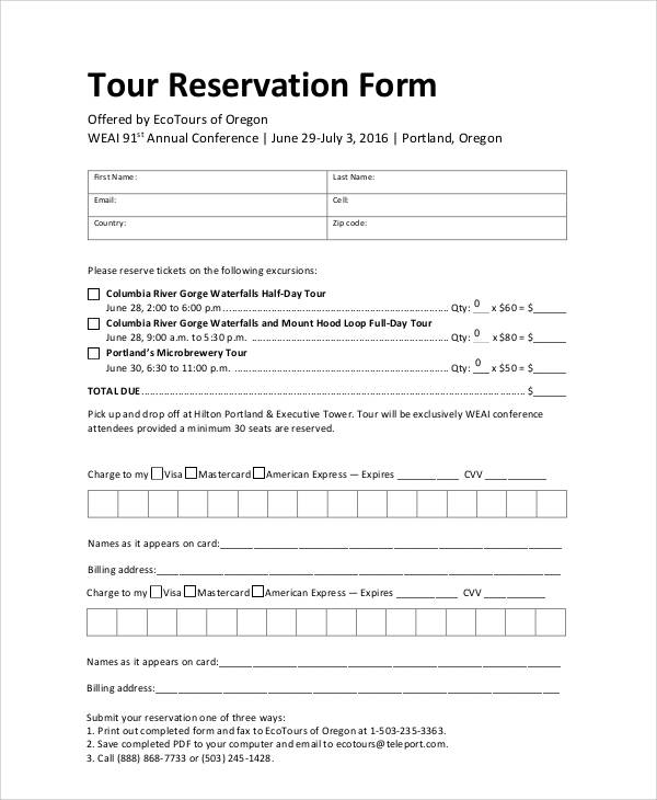 Sample Tour Reservation