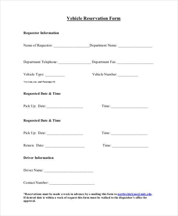 sample vehicle reservation form1