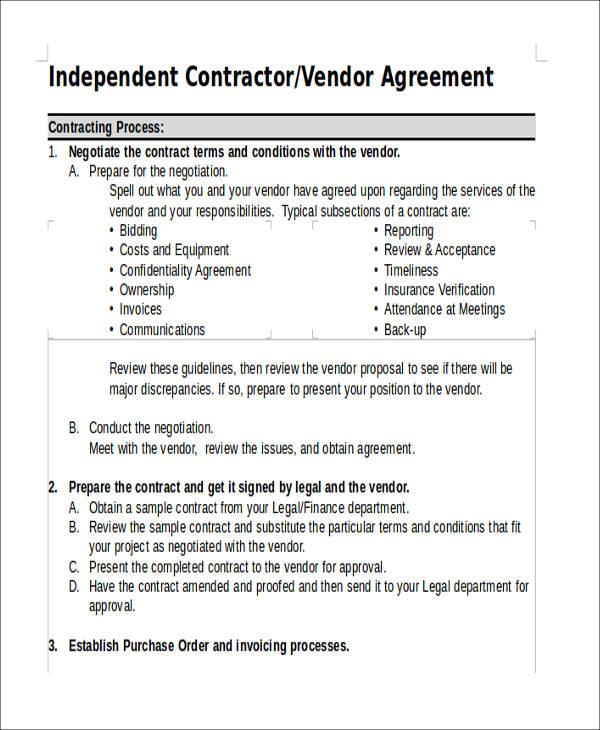 sample vendor agreement form