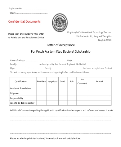 scholarship application acceptance letter