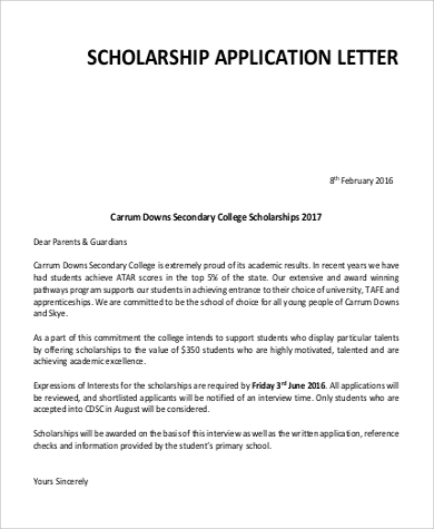Scholarship Application Letter For College